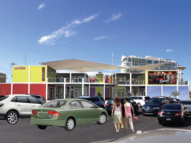 A rendering of the finished Pawn Plaza