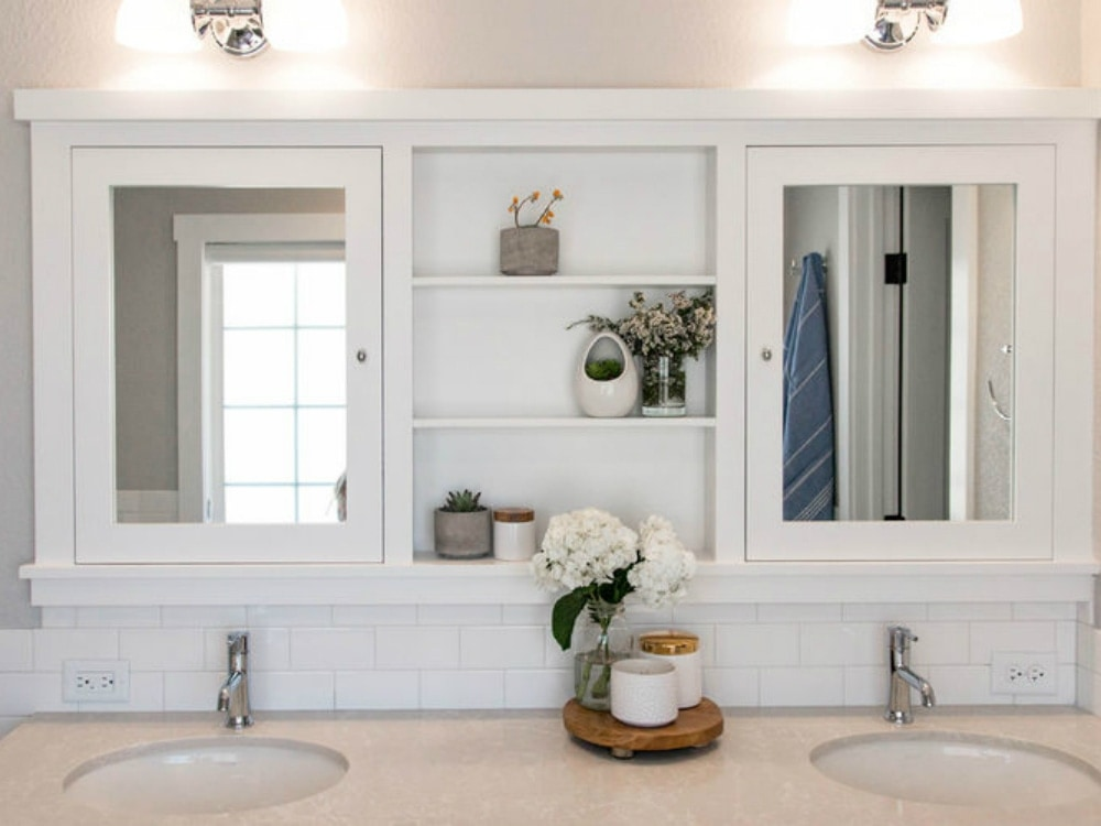 This vintage 1970s bathroom gets a rustic modern makeover for Houzz magazine