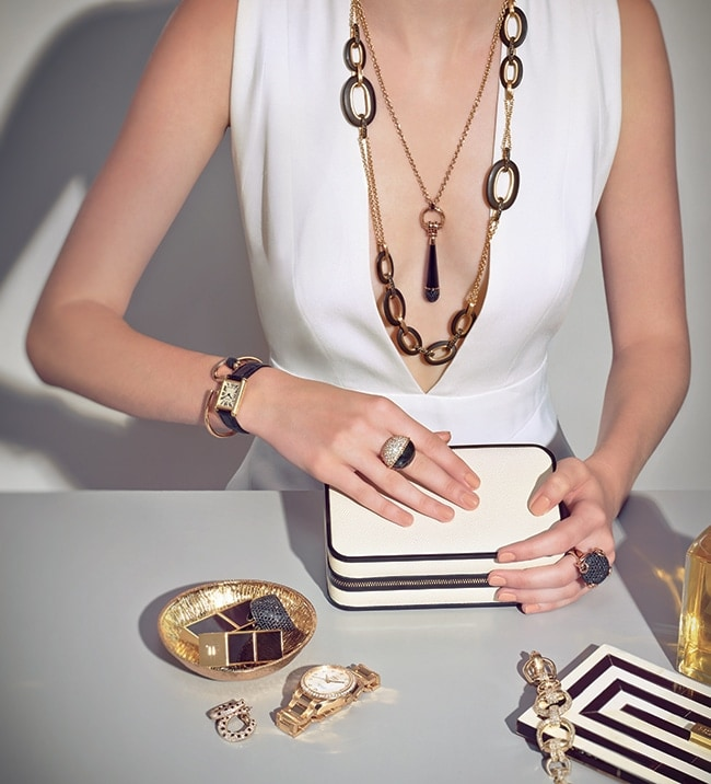 White, Black, and Gold Jewelry