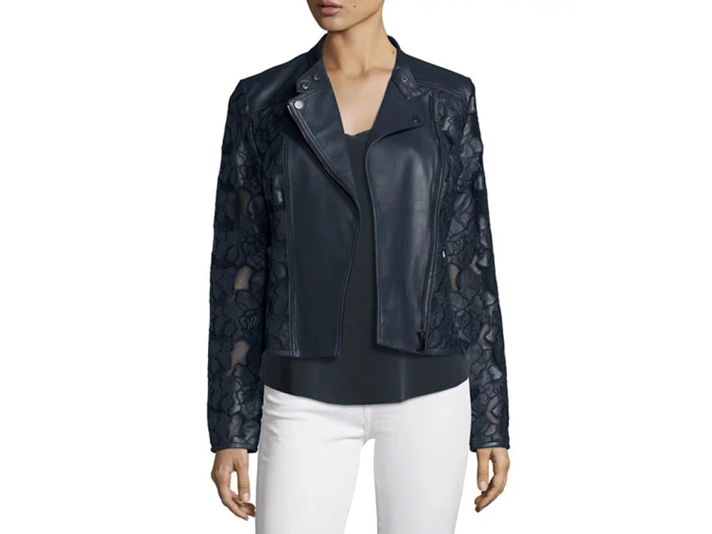 Floral Crochet Leather Moto Jacket by Neiman Marcus.