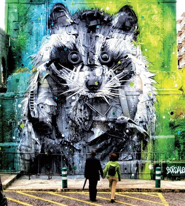 A mural by Bordalo II, who returns to Life Is Beautiful this year.