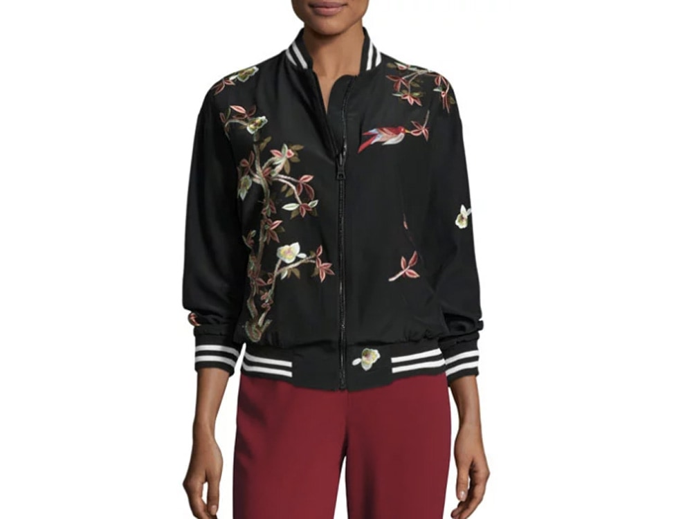 Lila Embroidered Bomber Jacket.