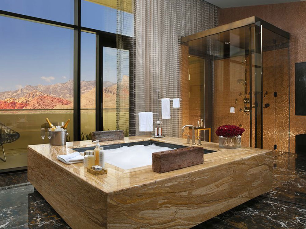 Sometimes getting off the Strip can be a good thing  especially when you end up in a place as geared toward relaxation as Red Rock. Luxury Vegas Hotel Bathrooms to Get Ready for a Night Out on the Strip