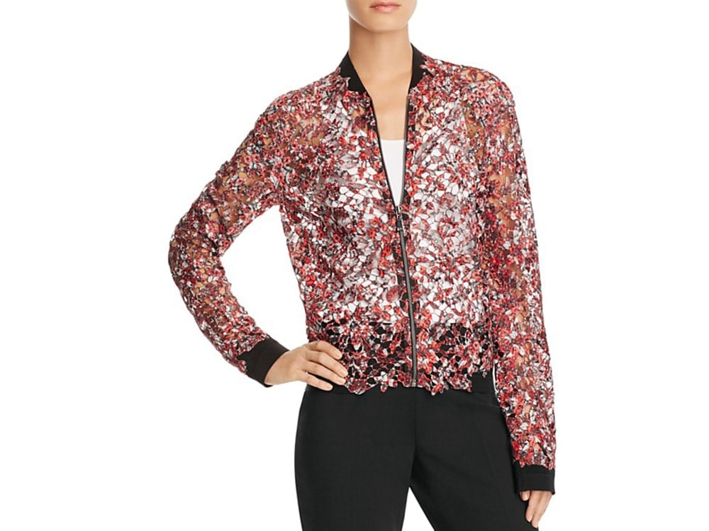 Sheer Floral Lace Bomber Jacket by Elie Tahari.