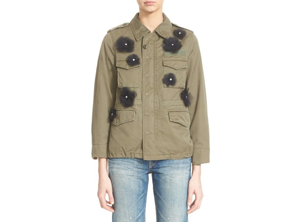 Tulle Flower Military Jacket.