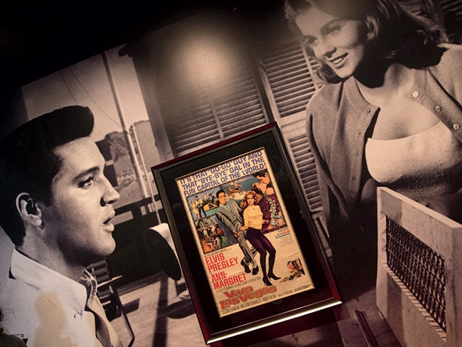 A wall in the exhibition dedicated to the Elvis Presley/ Ann-Margret movie Viva Las Vegas.